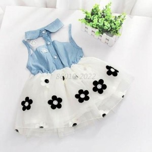 White & Blue Denim Floal Dress For Girl
