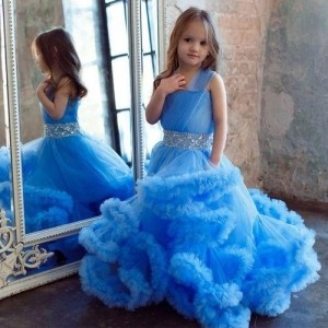 Blue Solid Party Wear Gown For Girl