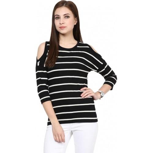 5c85484235d3e Buy Hypernation Black Cotton 3 4 Sleeve Striped Top online