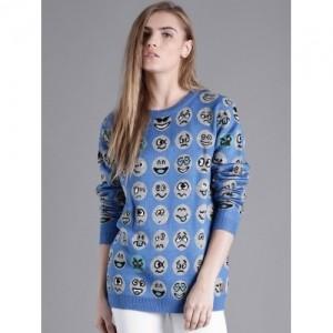 Kook N Keech Blue Acrylic Knitted Patterned Sweater