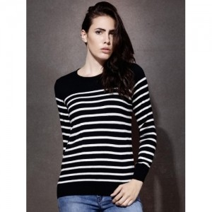 Roadster Black & White Acrylic Striped Sweater For Women