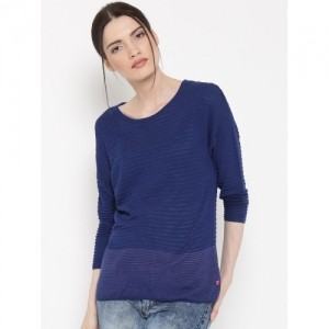 United Colors of Benetton Blue Viscose Self-Striped Sweater