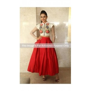 Style Amaze Cream & Red Semi-Stitched Lahenga For Women