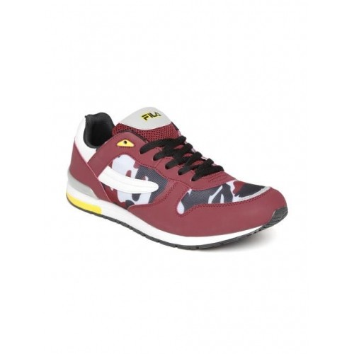Fila Men Burgundy Army Camouflage Print Sports Shoes