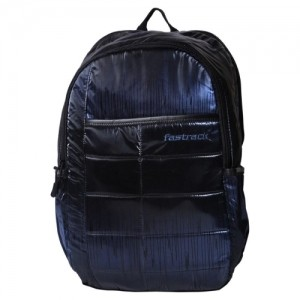 Fastrack Black Leather Solid Casual Backpack