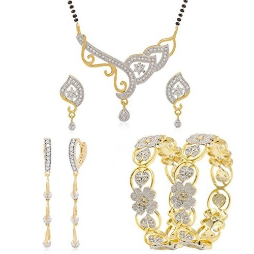 Jewels Galaxy Golden Alloy Diamond Mangalsutra & Earrings