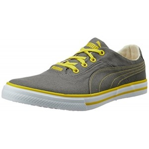 Puma Gray & Yellow Canvas Sneakers For Men