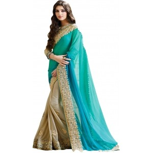 Glory Sarees Sky Blue Georgette Embroidered Women's Saree
