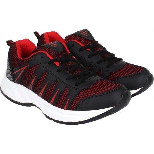 Aero Black & Red Mesh Running Shoes