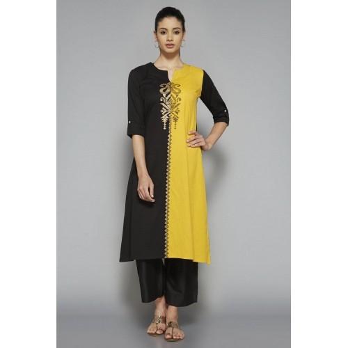 88ff352d0 Buy Utsa by Westside Black   Yellow Printed Kurta online