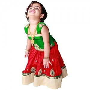 White Button Red & Green Net Lehenga Choli