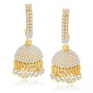 Sukkhi Golden Alloy Diamond Jhumka Earrings
