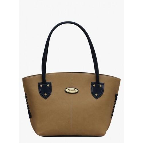 FOSTELO Beige Polyurethane (Pu) Handbag