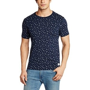Flying Machine Men's Navy Blue Printed Cotton T-Shirt