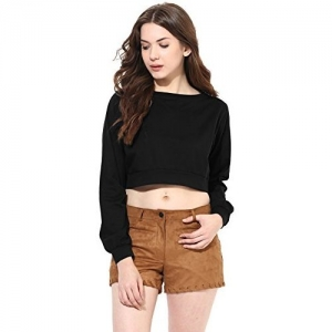 Miss Chase Black Cotton Long Sleeves Crop Top