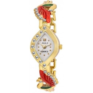Agile Golden Alloy Diamond Analog Watch For Women-AG_149