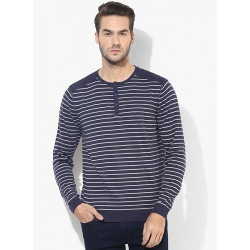 Buy levi 39 s navy blue striped henley t shirt online for Navy blue shirt online