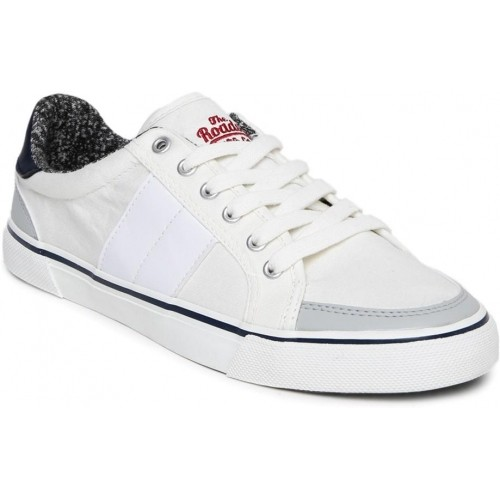 Buy Roadster White Canvas Sneakers For