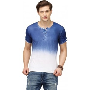 Campus Sutra Blue & White Ombre T-Shirt For Men