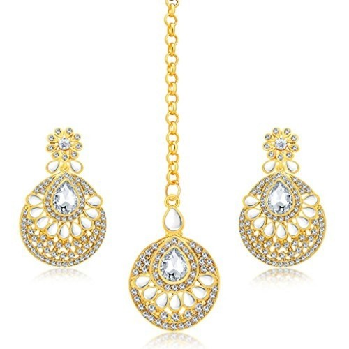 Sukkhi Gorgeous Gold Plated AD Earring With Mangtikka Set For Women
