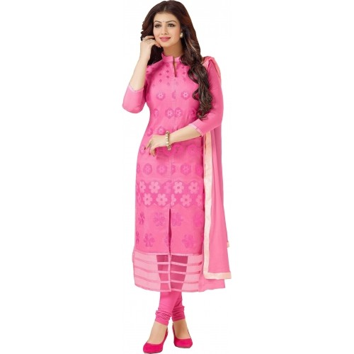 Blissta Pink Cotton Embroidered Salwar Suit