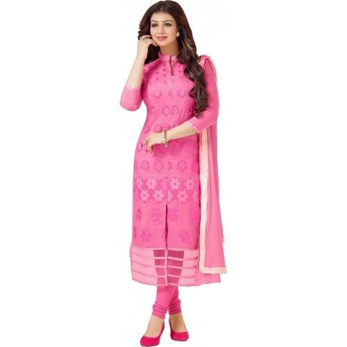 Blissta Pink Cotton Embroidered Salwar Suit