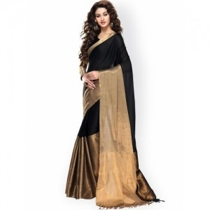 Ishin Black Cotton Silk Saree
