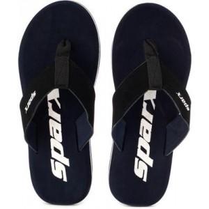 Sparx Blue & Black Synthetic Solid Flip Flops