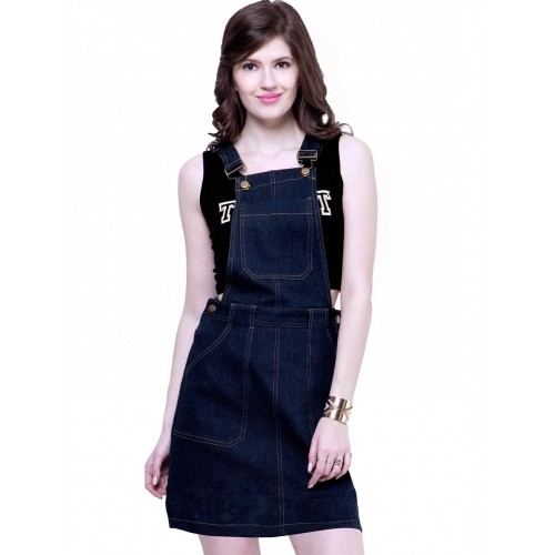 70e3128be Buy FabAlley Blue Denim Pinafore Dress For Women online | Looksgud.in