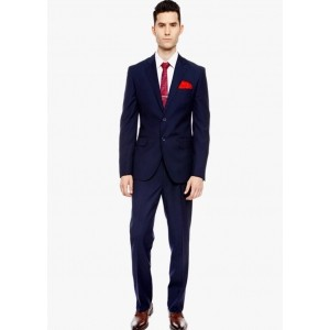Bsquare Single Breasted Navy Blue Solid Men's Suit