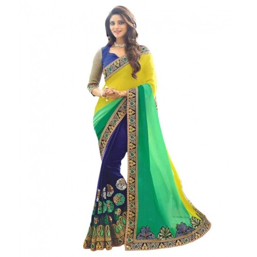 Buy Multicolor Georgette Kutch Embroidered Saree Online Looksgud In