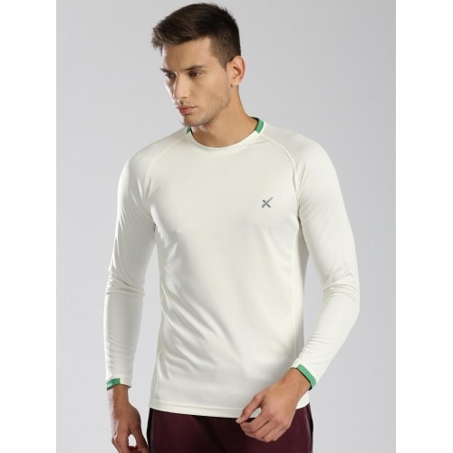 Buy HRX Cream-Coloured Polyester Solid Active T-shirt For Men ... 28b16f8bbe2