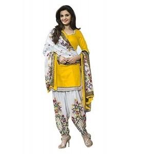 Jashvi Creation Yellow & White Embriodered Patiala Salwar Kameez Suit