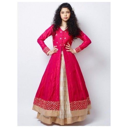 Pink & Cream Wedding Wear Silk Lehenga Choli