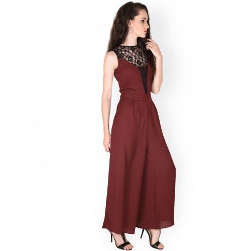 Sassafras Maroon Cotton Solid Jumpsuit
