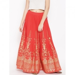 Biba Red & Golden Printed Flared Maxi Skirt