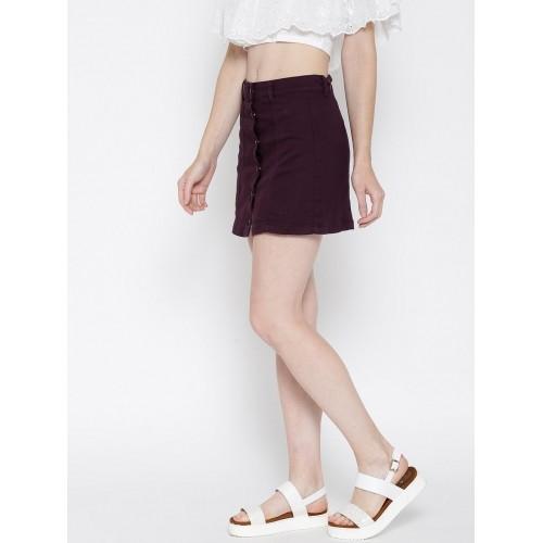 buy forever 21 aubergine burgundy denim a line skirt