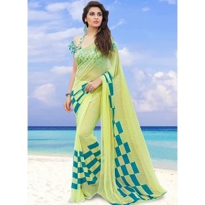 Shaily Yellow Georgette Printed Saree