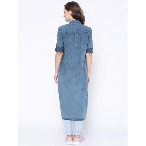 Tokyo Talkies Blue Denim Shirt Style Kurta