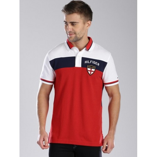 d0cf96c82386c4 Buy Tommy Hilfiger Red Colour Block Polo T-shirt For Men online ...