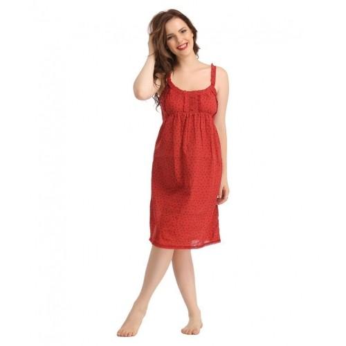Buy Clovia Red Cotton Nighty   Night Gowns online  b2fdf862d