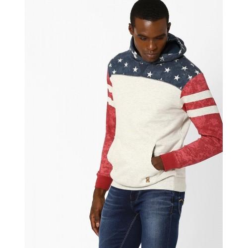 DNM X Off White Slim Fit Printed Sweatshirt With Hood