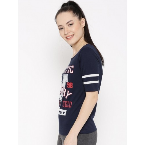 ef7e4e75030 Buy Ajile by Pantaloons Women Navy Printed Round Neck T-shirt online ...