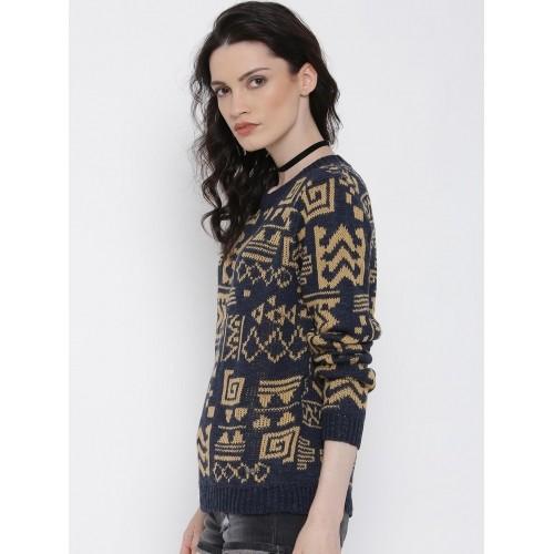 Roadster Women Navy Blue & Beige Sweater