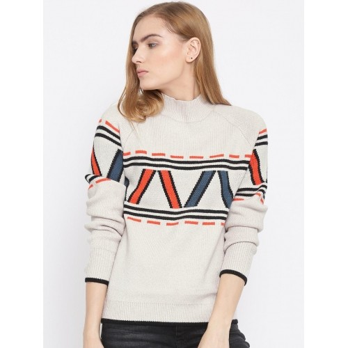 Vero Moda Women Beige Self-Design Sweater