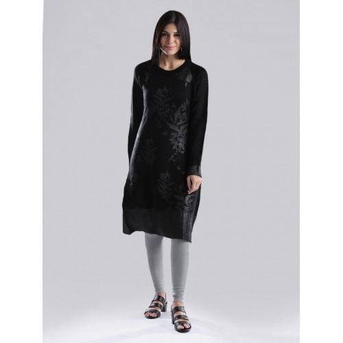 9d40043920c Buy W Black Acrylic Printed A-Line Winter Kurta online