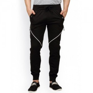 Campus Sutra Black Solid Track Pant