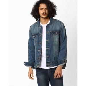 AJIO Trucker Blue Denim Jacket