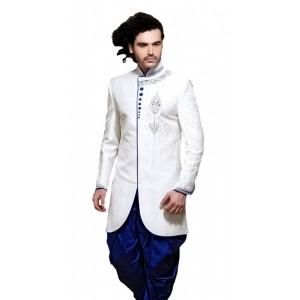 Alza White & Blue Indo Western Sherwani For Men
