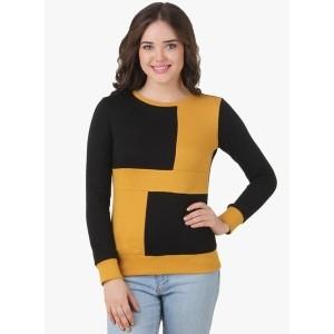 Texco Mustard Yellow Cotton & Polyester Printed Sweatshirt